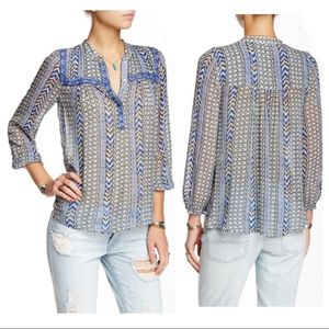 Lucky Brand Beaded Trim Peasant Blouse, size XL
